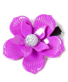 Treasure Trove Stone Studded Flower Hair Clip - Purple