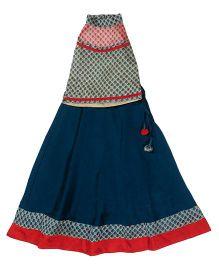 Utsa Boutique Printed Chanderi Silk Lehenga Choli - Blue