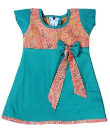 Utsa Boutique Printed A-Line Dress - Blue
