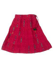 Utsa Boutique Ikkat Skirt For Girls - Pink