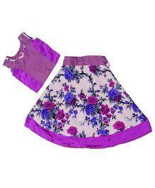 Utsa Boutique Floral Print Lehenga Choli - Purple