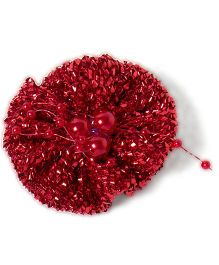 Treasure Trove Glittery Flower Hairclip - Red