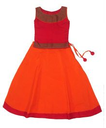 Utsa Boutique Brocade Lehenga Choli - Orange & Red
