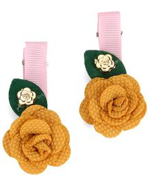 The KidShop Set Of 2 Rose Hair Clips - Beige