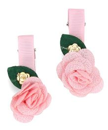 The KidShop Set Of 2 Rose Hair Clips - Pink