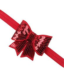 Akinos Kids Sequin Bow Knot Headband - Red