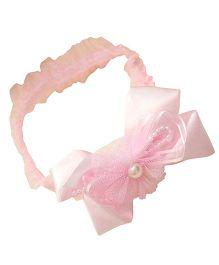 Akinos Kids Ribbon Bow & Pearls Headband - Light Pink