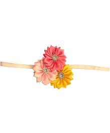 Akinos Kids Satin Flower Headband - Pink & Yellow