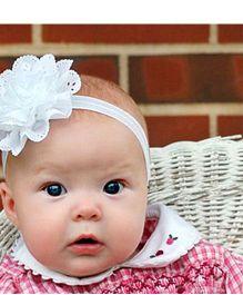 Akinos Kids Pretty Flower Headband - White