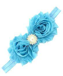 Akinos Kids Stylish Flower Headband With Pearl - Aqua Blue
