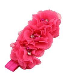 Akinos Kids Gorgeous Flower Headband With Pearls & Diamonds - Fuchsia