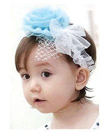 Akinos Kids Gorgeous Flower Bow Stitched Headband - Sky Blue