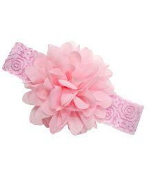 Akinos Kids Designer Net Headband With Flower - Light Pink