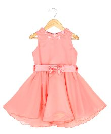 Soul Fairy Georgette Dress With Rose On Neck - Peach