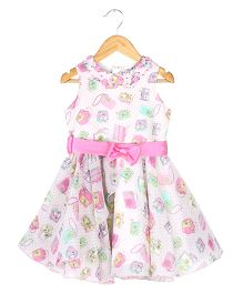 Soul Fairy Travel Print Georgette Dress With Rose On Neck - Pink & Multicolour