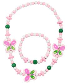 NeedyBee Butterfly Wooden Beaded Necklace & Bracelet Set - Pink & White