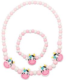 NeedyBee Smiling Doll Beaded Wooden Bracelet & Necklace Set - Pink
