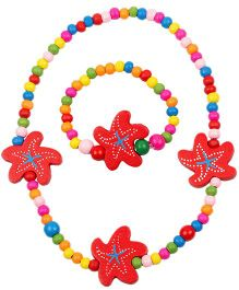 NeedyBee Wooden Starfish Beaded Necklace & Bracelet Set - Multicolour