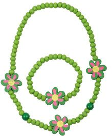 NeedyBee Flower Beaded Bracelet & Necklace Set - Green