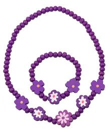 NeedyBee Floral Beaded Wooden Necklace & Bracelet Set - Purple