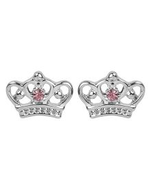 NeedyBee Rhinestone Studded Crown Shape Stud Earrings - Silver