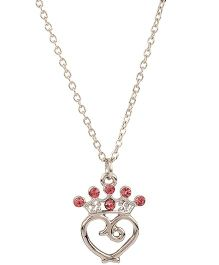 NeedyBee Crystal Studded Heart & Crown Charm Pendant Necklace - Pink & Silver