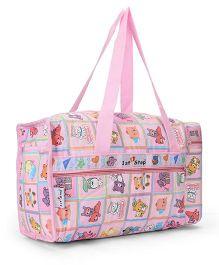 1st Step Diaper Bag With Bottle Holder Happy Bear Print - Pink