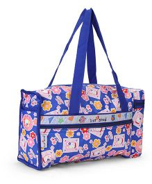 1st Step Diaper Bag With Bottle Holder Cute Rabbit Print - Royal Blue