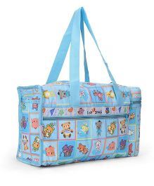 1st Step Diaper Bag With Bottle Holder Teddy Bear Print - Light Blue