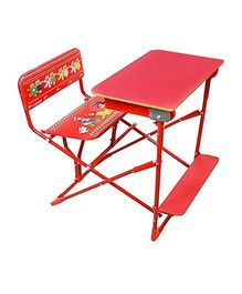 Sohum Folding Study Desk With Chair - Red