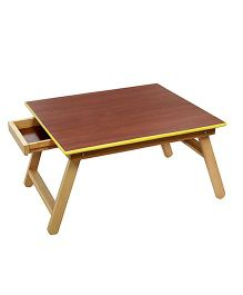 Sohum Folding Wooden Bed Table With Drawer - Brown