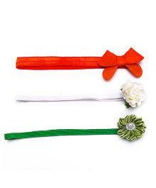 D'chica I Love India Set Of 3 Headbands - Orange Green & White