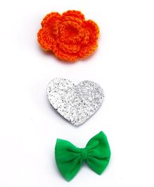 D'chica I Love India Set Of 3 Hair Clips - Orange Green & White