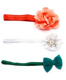 D'chica I Love India Trendy Set Of 3 Headbands - Orange Green & White