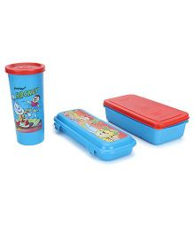 Pratap Lunch Box With Tumbler And Pencil Box - Blue Red