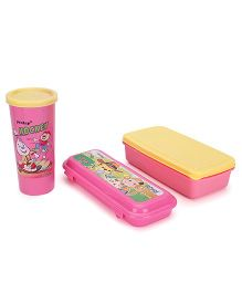 Pratap Lunch Box With Tumbler And Pencil Box - Pink Yellow