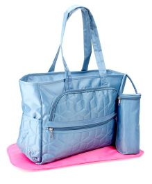 Mother Bag With Changing Mat And Bottle Holder - Blue