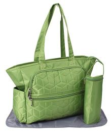 Mother Bag With Changing Mat And Bottle Holder - Green