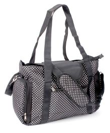 Mother Bag Dotted Print With Changing Mat - Black