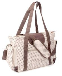 Mother Bag Dotted Print With Changing Mat - Cream & Brown