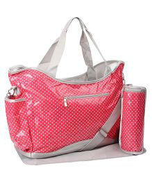 Mother Bag Dotted Print With Changing Mat And Bottle Holder - Pink & Gray