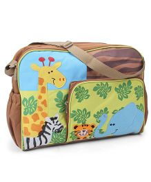 Mother Bag With Elephant & Giraffe Patch & Changing Mat - Green & Brown