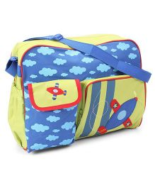 Mother Bag With Aeroplane Applique And Changing Mat - Blue & Green
