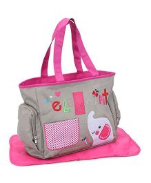 Mother Bag With Changing Mat Elephant Print - Grey And Pink