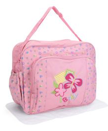 Mother Bag With Changing Mat Butterfly Print - Pink