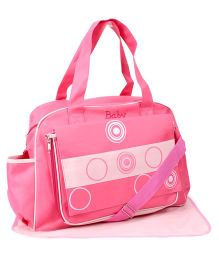 Mother Bag Baby With Circle Print And Changing Mat - Pink