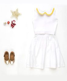 MilkTeeth Sugar Plum High Waist Skirt & Crop Top Set - White & Yellow