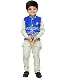 AJ Dezines Full Sleeves Shirt And Polo Pants With Waistcoat - Blue Off White