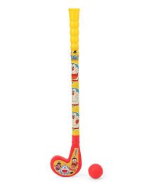 Doraemon Hockey Stick And Ball Set - Red And Yellow