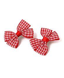 Milonee Checks Bow Clip - Red & White